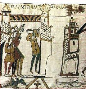 A tapestry from 1066 showing Halley's Comet and some Normans getting ready to invade England.